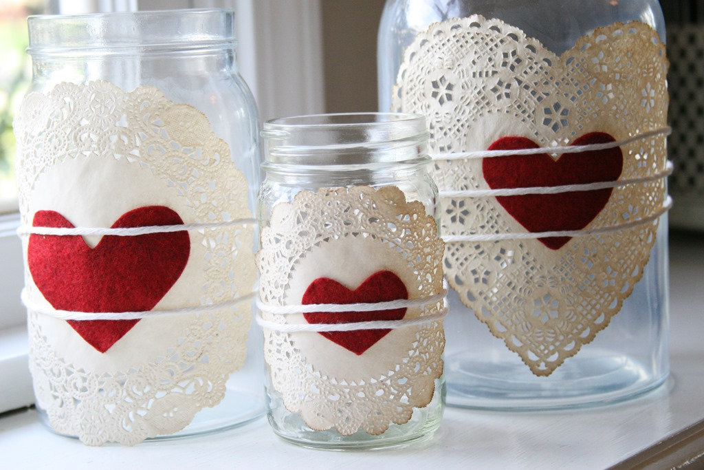 Doilies Heart Jars Mason Jar Crafts Love