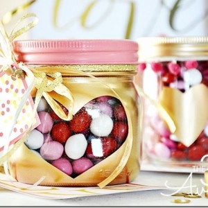 Gold Heart Mason Jars