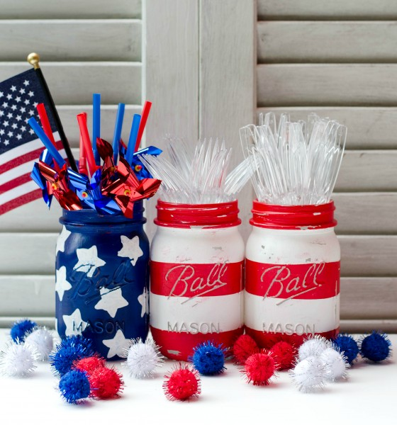american flag mason jar, red, white and blue painted mason jars