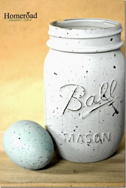 mason jars speckled with duck egg blue @homeroad