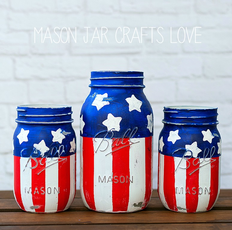 Stars Striped Mason Jars