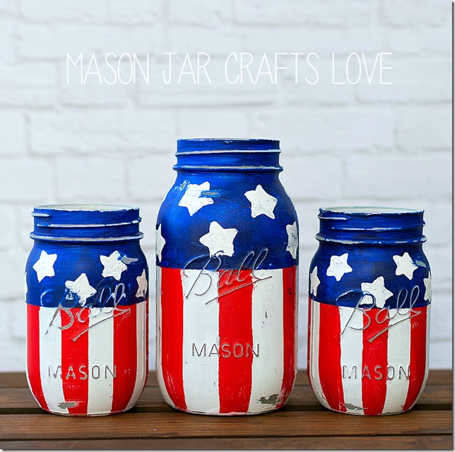 Stars & Stripes Mason Jars - Patriotic Red White Blue Mason Jars