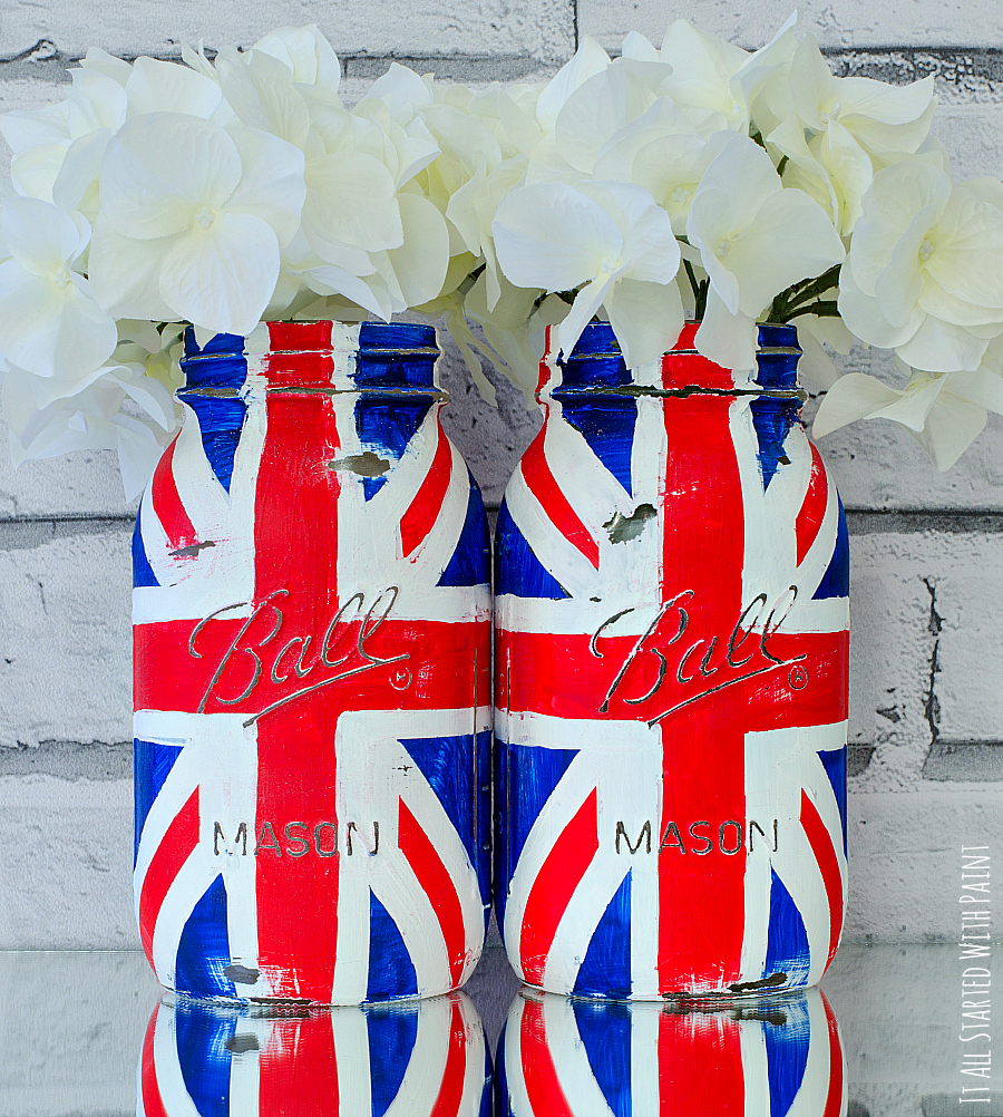red white and blue mason jars painted