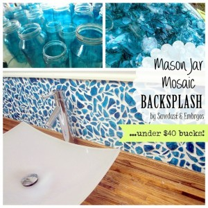 blue glass backsplash using vintage mason jars