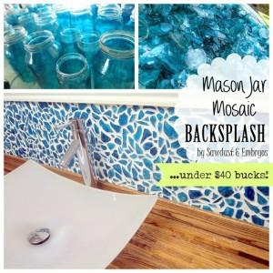 blue glass backsplash using vintage mason jars