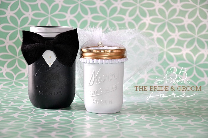 Wedding Gifts For Bride And Groom Who Have Everything : Mason-Jar-Crafts-The-Bride-and-Groom-Jars-the36thavenue.com-