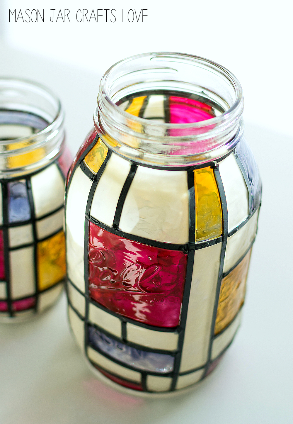 mason jar crafts: how to make mondrian stained glass mason jar