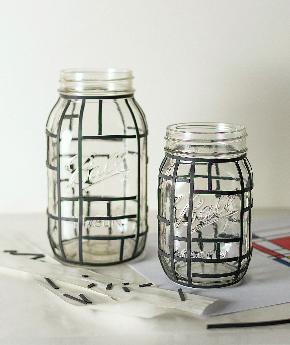 mondrian mason jars mason jar crafts love On crafts using glass jars