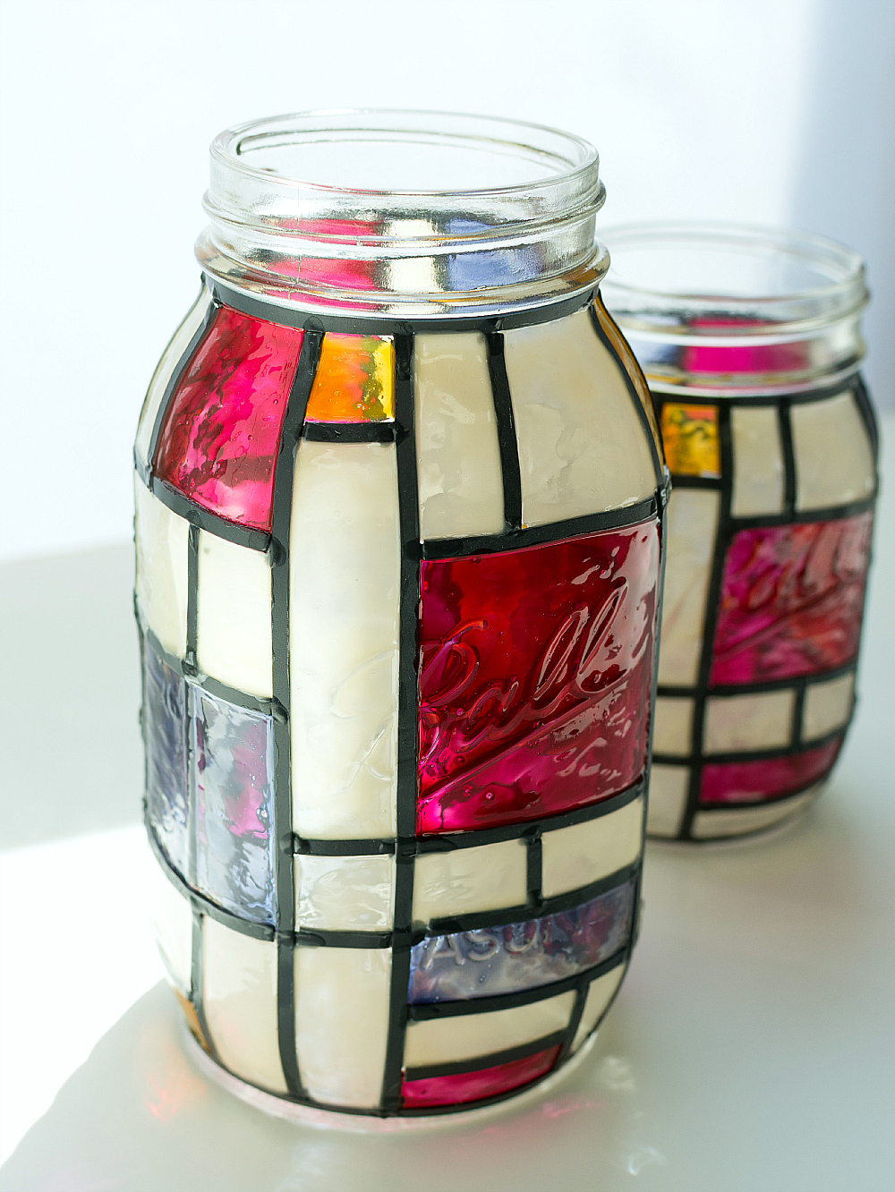 mondrian mason jar stained glass craft 3 of 24 Mondrian Mason Jars