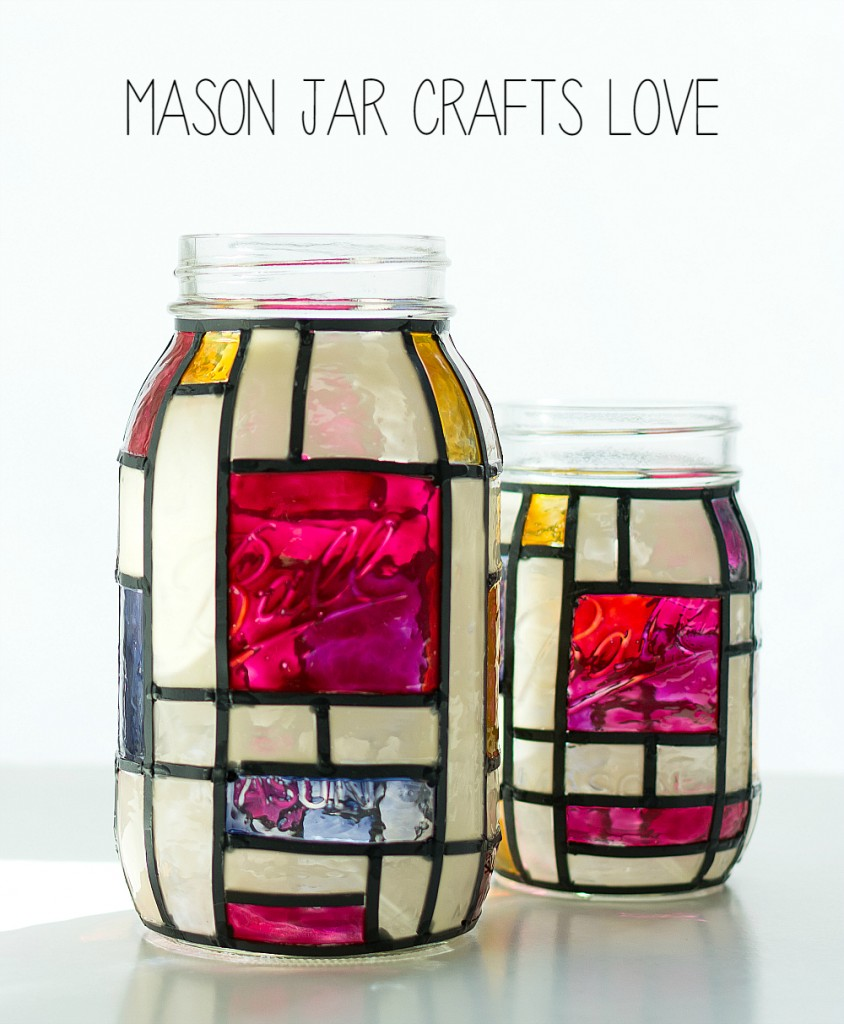 Mondrian mason jars for Crafts to make with glass jars