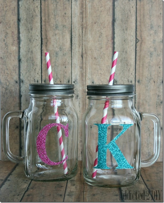 glitter monogram mason mug mason jar crafts love