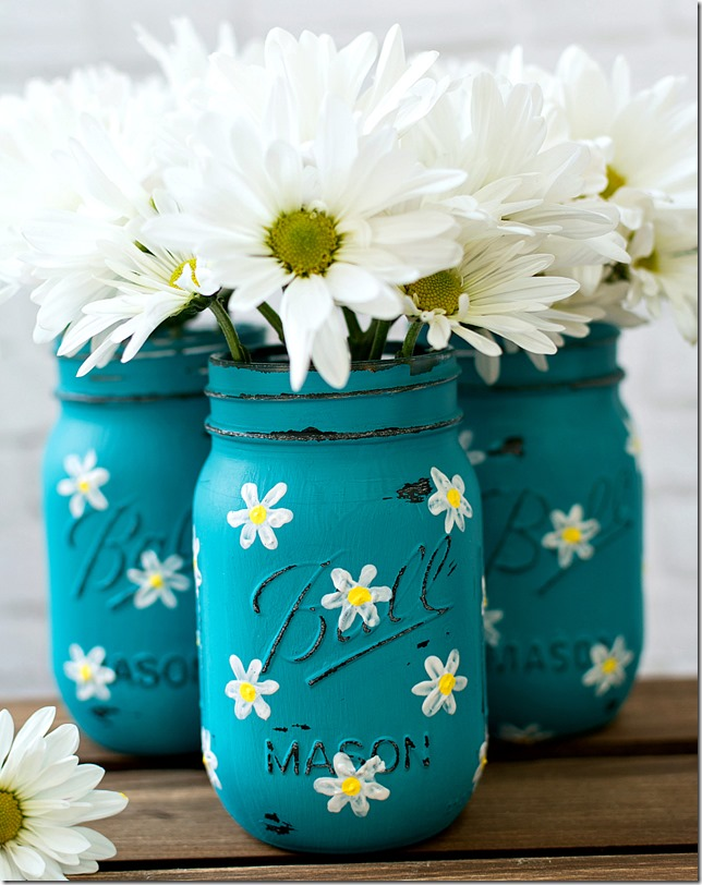 Painted Daisy Mason Jars Mason Jar Crafts Love