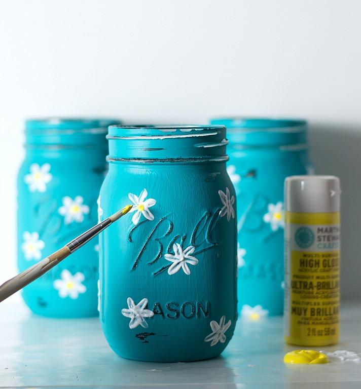 Painted Daisy Mason Jars Mason Jar Crafts Love