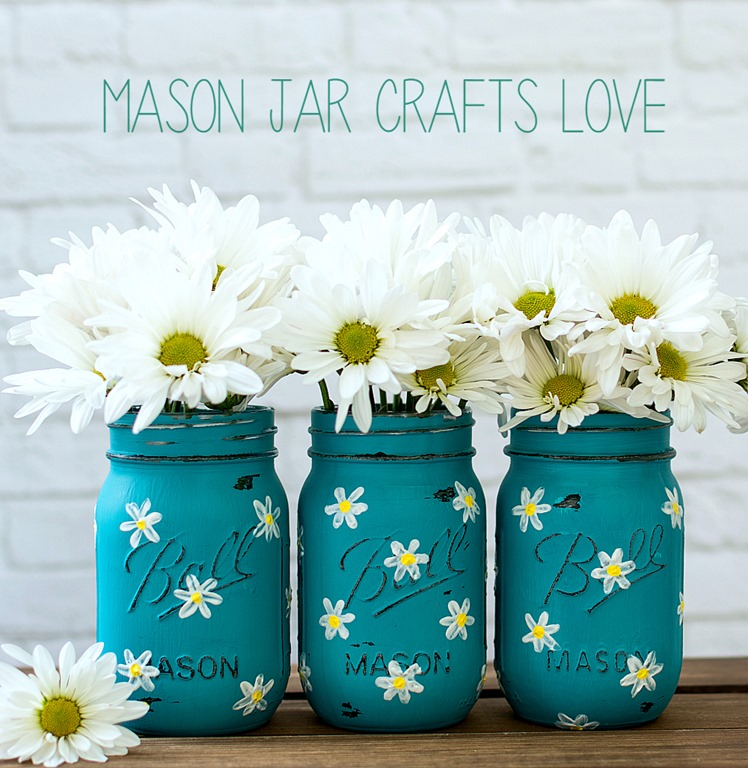 Mason Jar Decor Part - 23: Painted-daisy-mason-jars (4 Of 26)