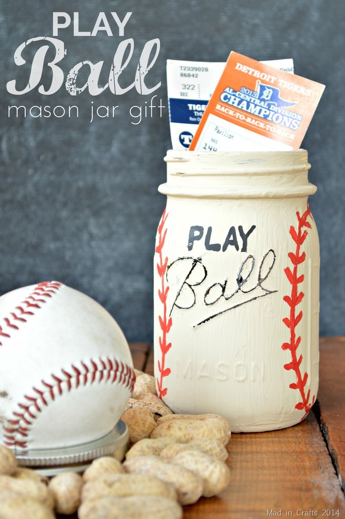 Father's Day Gift Idea: Baseball Mason Jar & Tickets