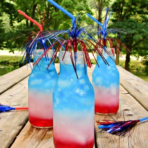 Mason Jar Crafts - Red White Blue Layered Drink