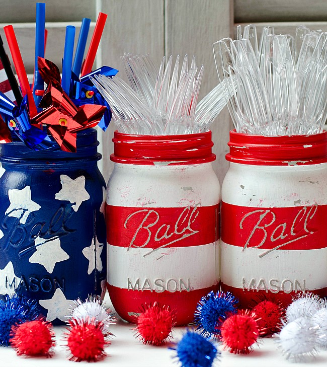 Mason Jar Crafts: American Flag Mason Jar