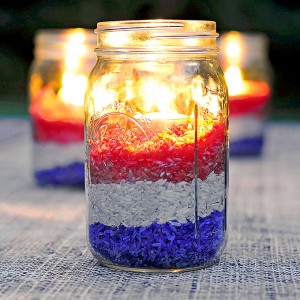 Mason Jar Craft: Red White Blue Rice Candle Centerpiece