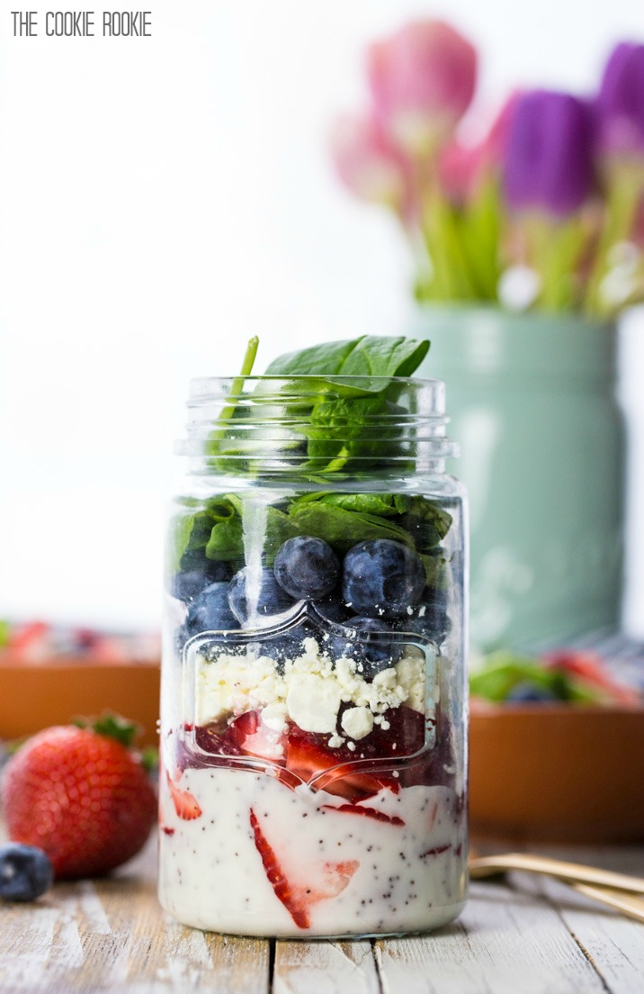 Salad Ideas: Red White Blue with Feta Cheese  in Mason Jar