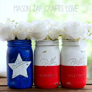 Mason Jar Crafts: Red White Blue Texas Flag