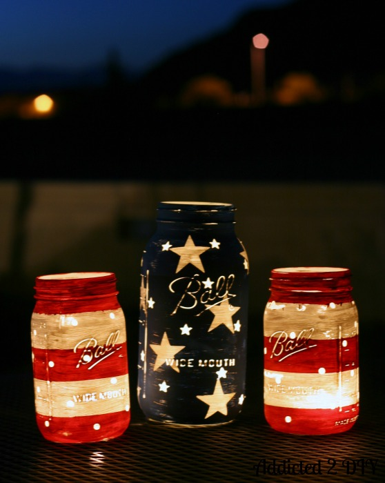 Mason Jar Crafts: Red White Blue
