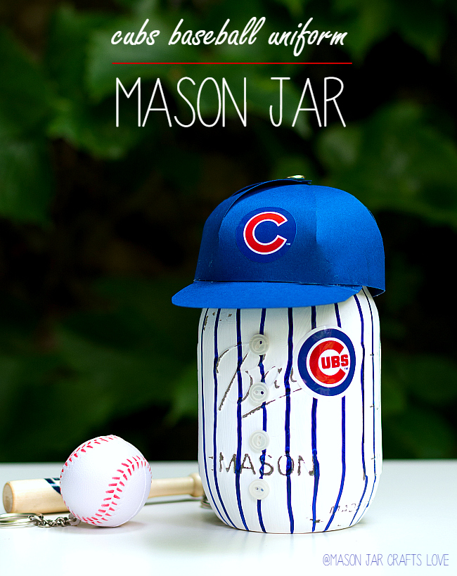 Baseball Mason Jar Craft Idea: Cubs Uniform Mason Jar