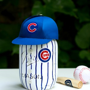 Mason Jar Craft: Cubs Baseball Uniform Mason Jar