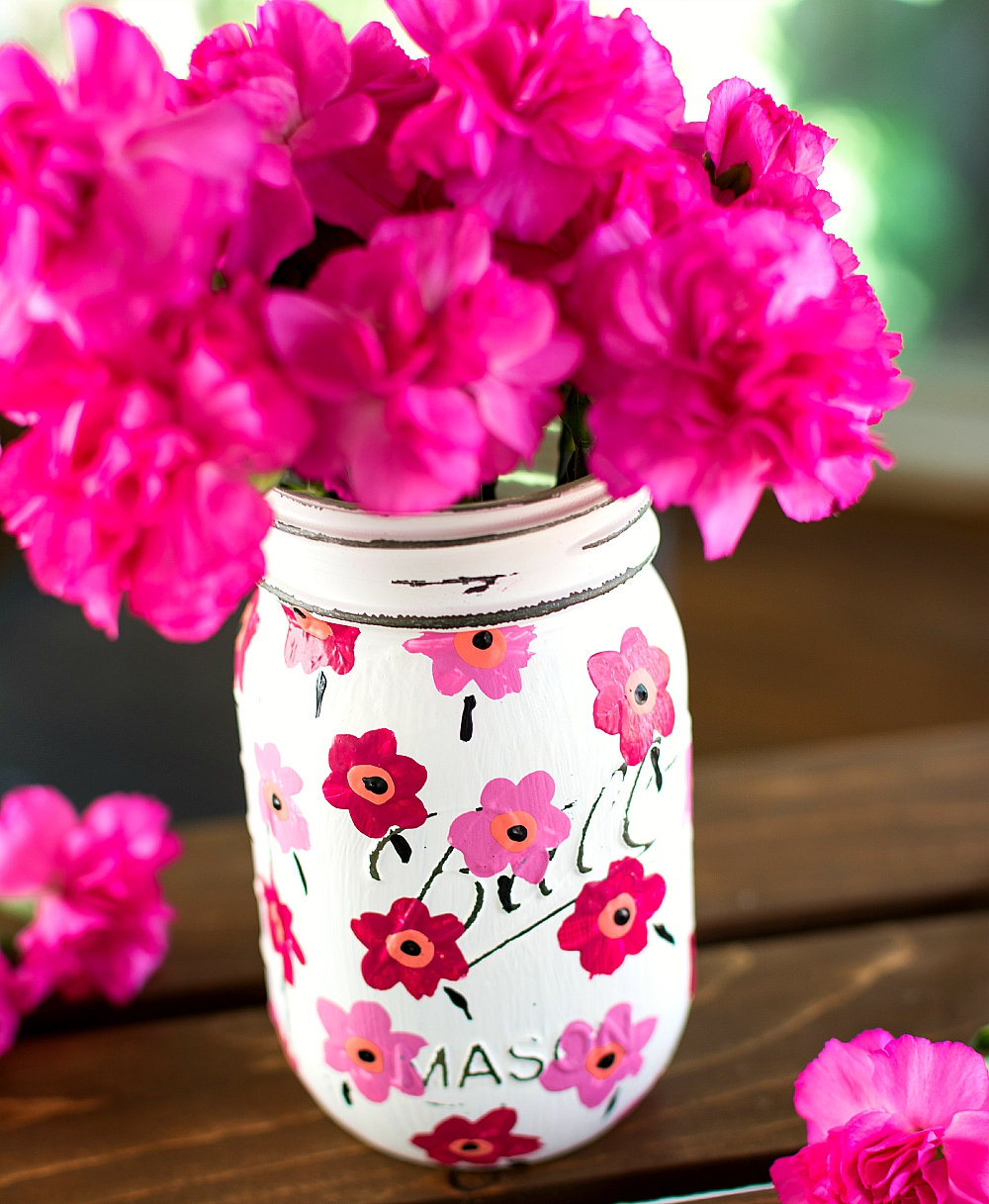 Painted Mason Jar - Flower Painted Mason Jar - Marimekko Pink Flower Mason Jar