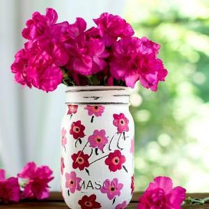 Mason Jar Crafts: Painted Floral Pink Marimekko Inspired Design