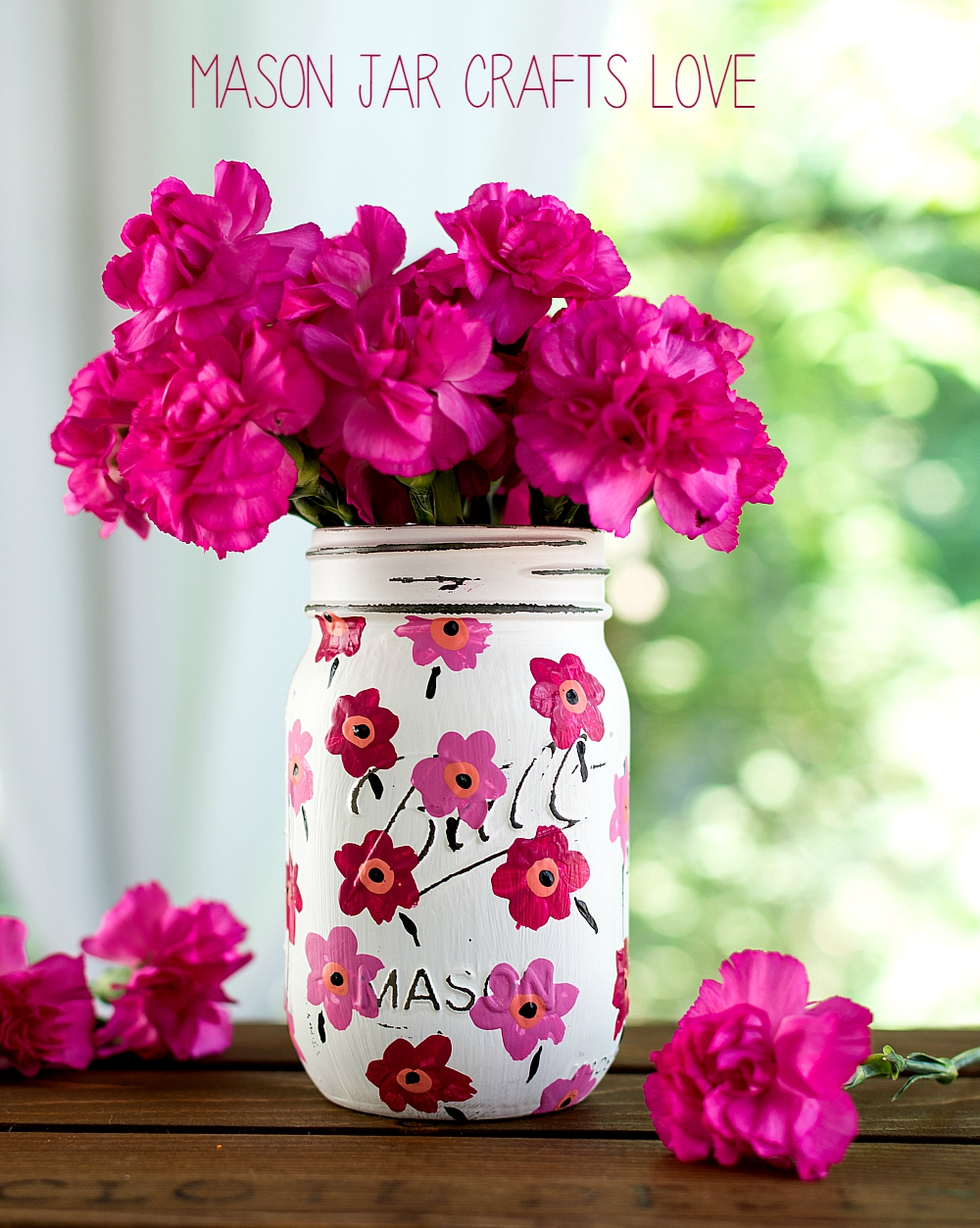 Mason Jar Crafts: Painted Floral Pink Marimekko Inspired Design