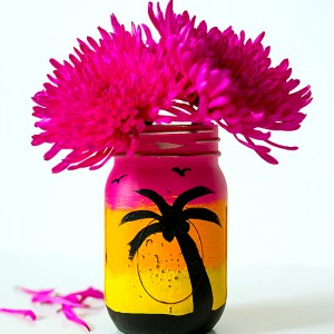 Tropical Sunset Mason Jar