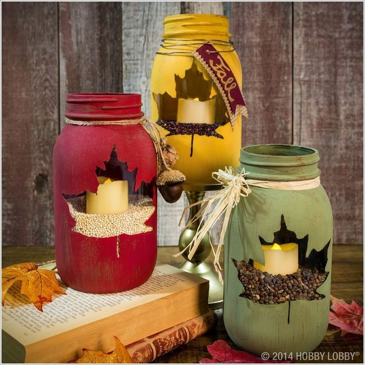 Mason Jar Decorations Part - 42: Mason-jar-craft-painted-leaf-luminary @hobbylobby
