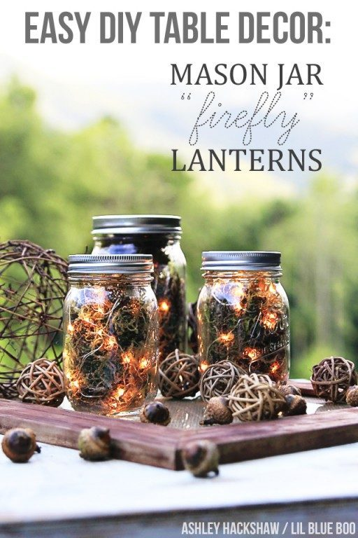Mason Jar Craft Ideas: Fall Centerpiece Lighted Jars
