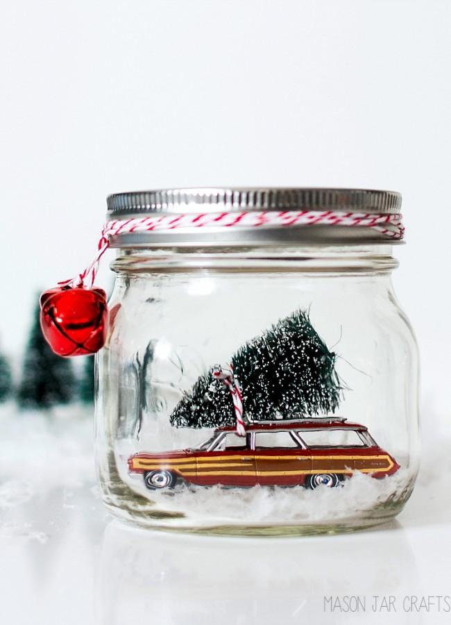 Mason Jar Crafts for Christmas: Ford Woody Station Wagon Snow Globe