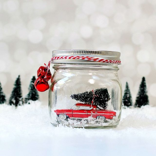 Car in masonjar snow globe masonjarcrafts masonjarchristmas christmascraft