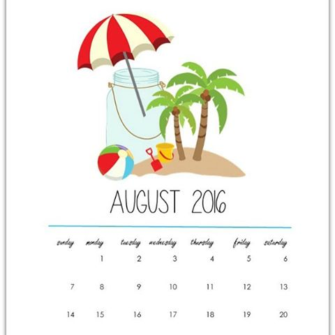 August Calendar Page