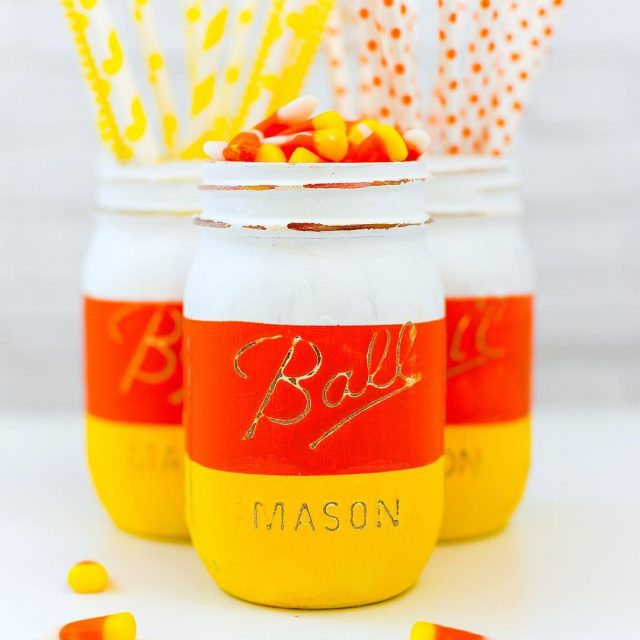 Candy corn masonjars masonjarcrafts halloweencrafts link to tutorial in profile