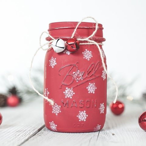 Snowflake masonjar from kastylesny Link in profile masonjarcrafts holidaycrafts christmascrafts
