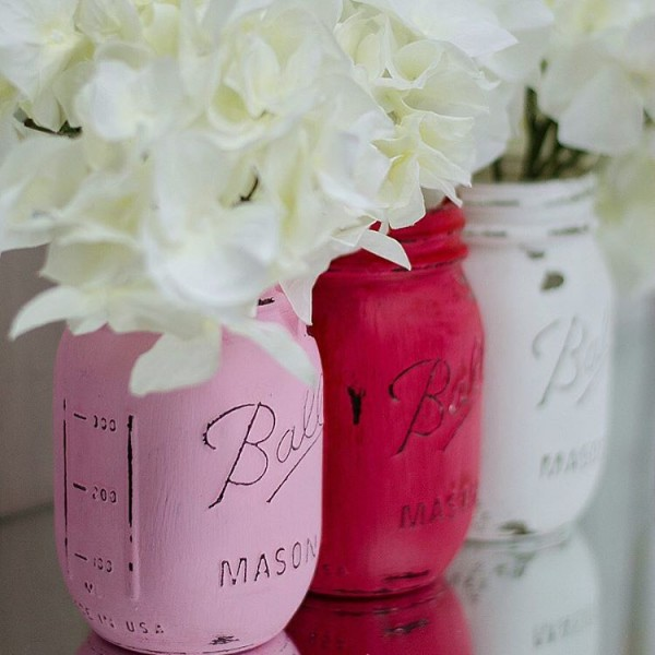First etsyshop order for red pink and white paintedanddistressedmasonjars masonjarcraftshellip