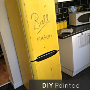 Ball Mason Jar Painted Refrigerator
