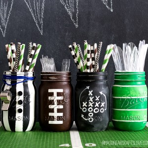 Mason Jar Crafts: Super Bowl Party Ideas with Painted Mason Jars