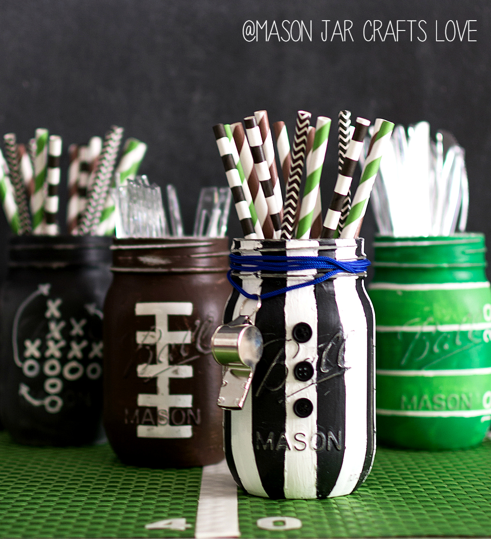 Mason Jar Craft Ideas for Super Bowl Party - Referee Mason Jar for Game Day or Boy's room