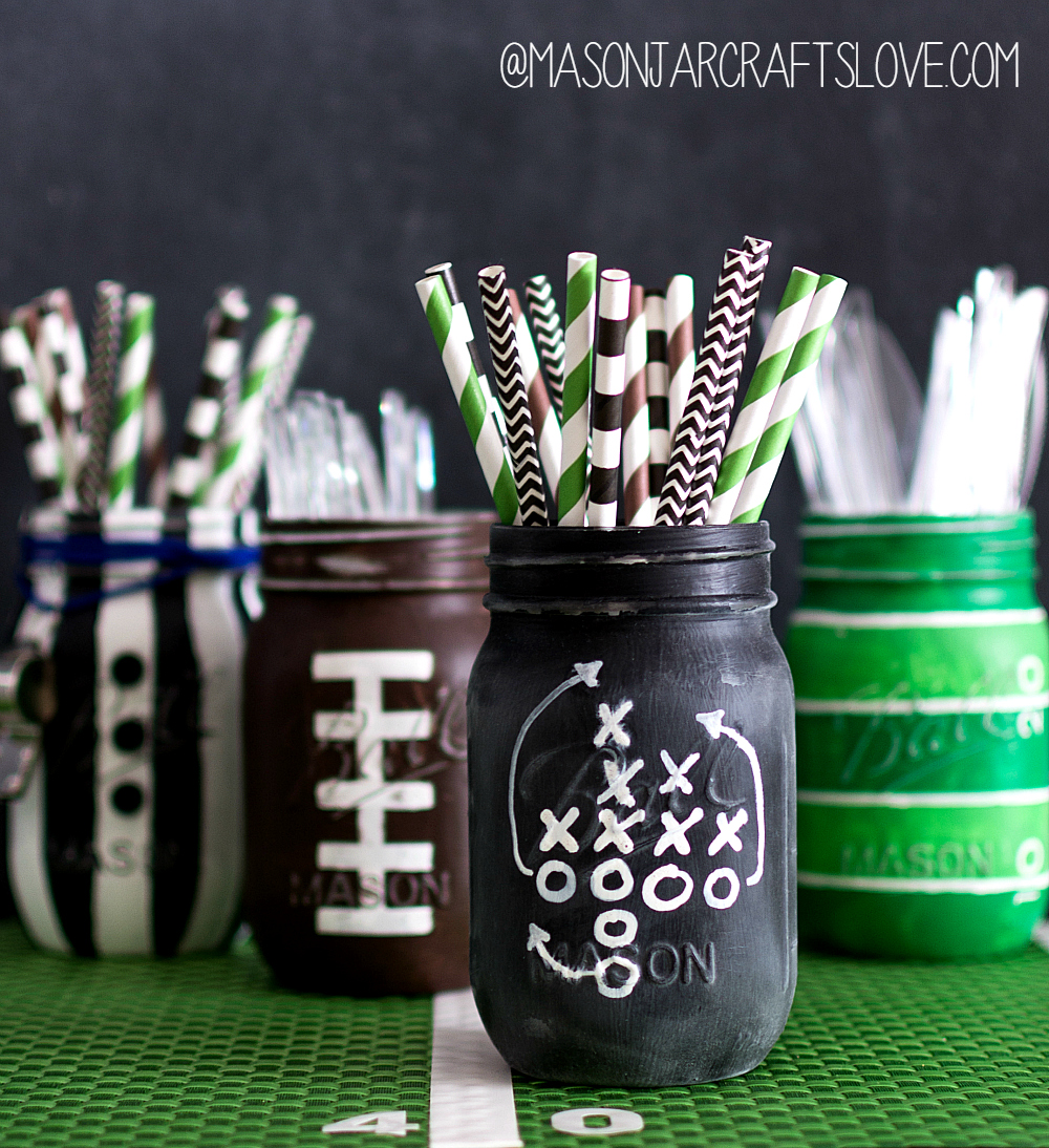 Super Bowl Party Ideas - Mason Jar Football Game Plan Chalkboard