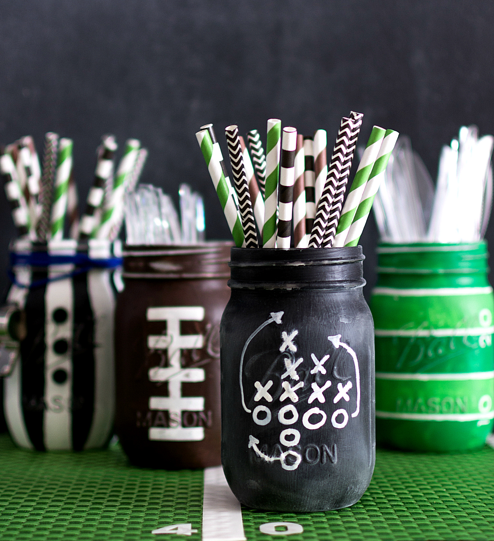 Chalkboard Football Game Plays Mason Jar