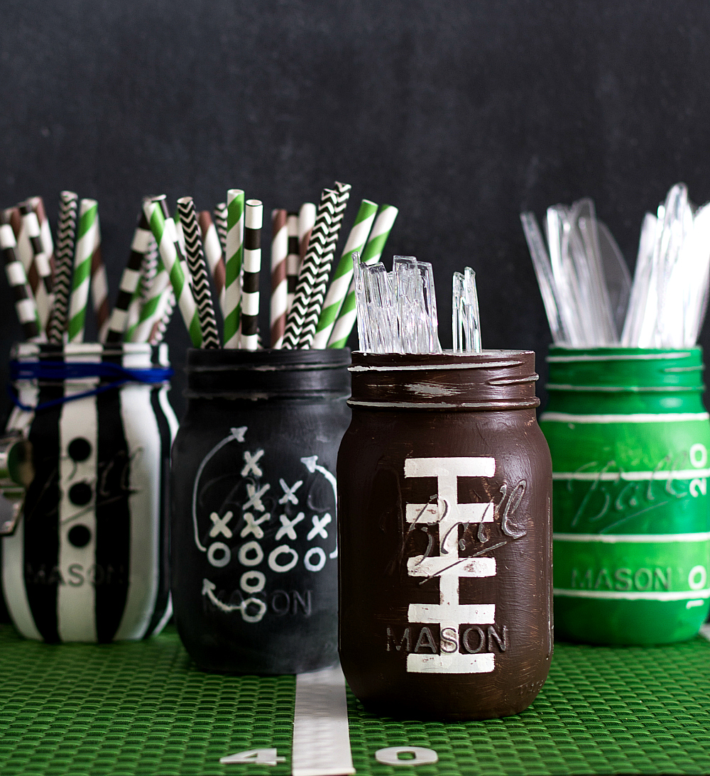 Football Mason Jar - Painted & Distressed Mason Jar Craft