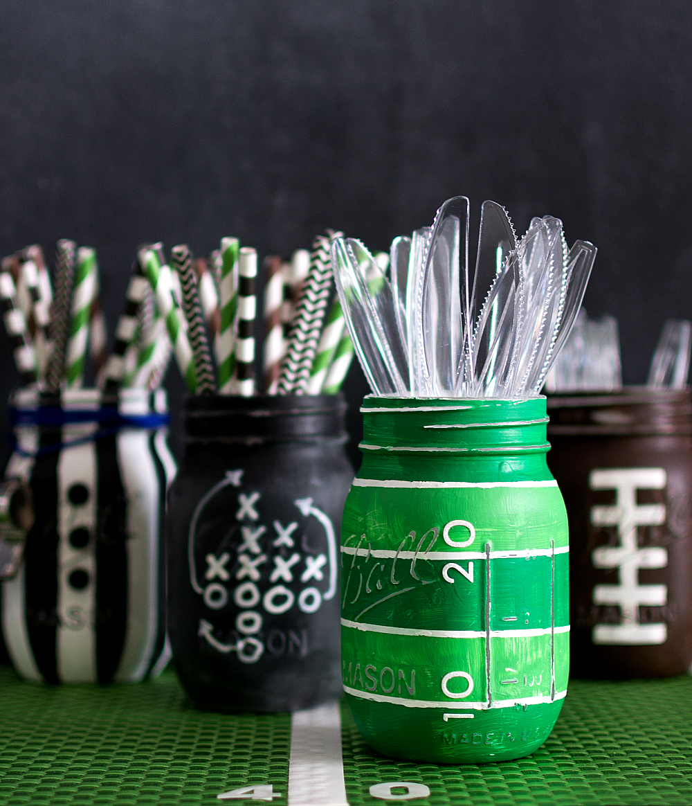 Football Field Mason Jar - Painted & Distressed Jar Craft - Football Mason Jar Craft Ideas