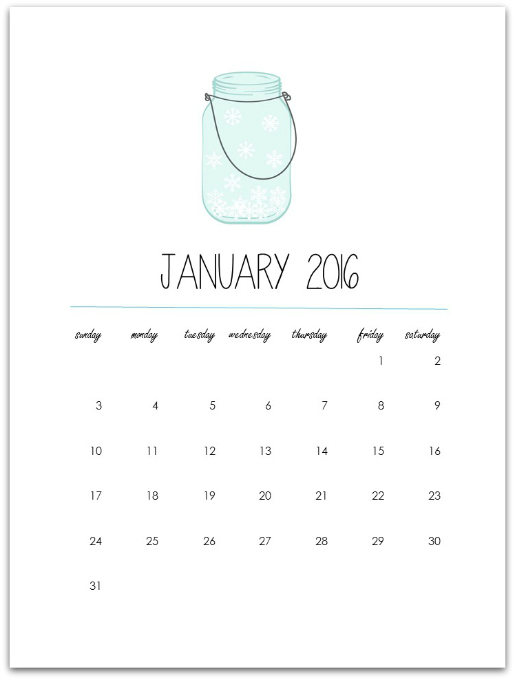 Mason Jar Calendar Printable