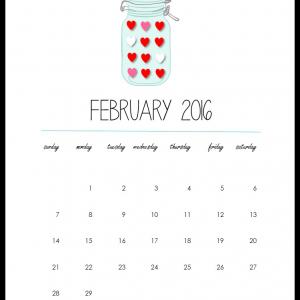 February 2016 Calendar Page - Mason Jar Calendar Page - Free Printable