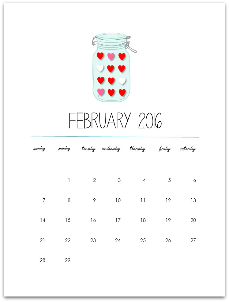 February 2016 Calendar Page – Free Printable
