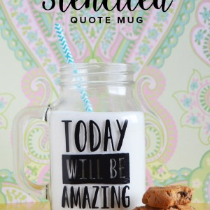 Stenciled Mason jar Glass